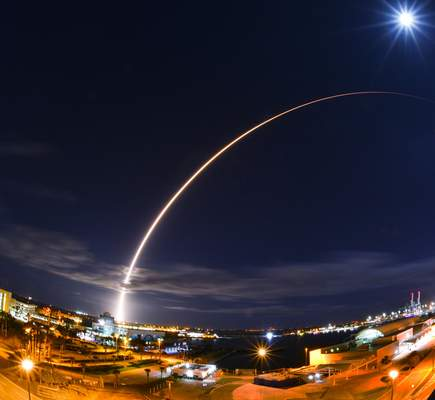 In this wide angle and long exposure shot, United Launch Alliance's Atlas V rocket, lifts off from Launch Complex 41 at Cape Canaveral Air Force Station in in Cape Canaveral, Fla., Sunday night, Feb. 9, 2020. (Malcolm Denemark/Florida Today via AP)