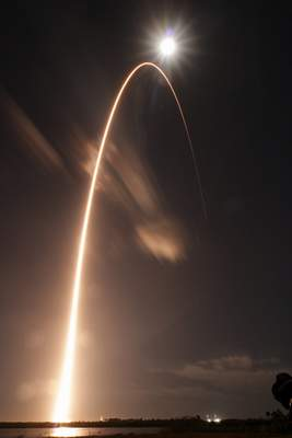 In this photo provided by NASA, United Launch Alliance's Atlas V rocket, lifts off from Launch Complex 41 at Cape Canaveral Air Force Station in in Cape Canaveral, Fla., Sunday, Feb. 9, 2020. (Jared Frankle/NASA via AP)