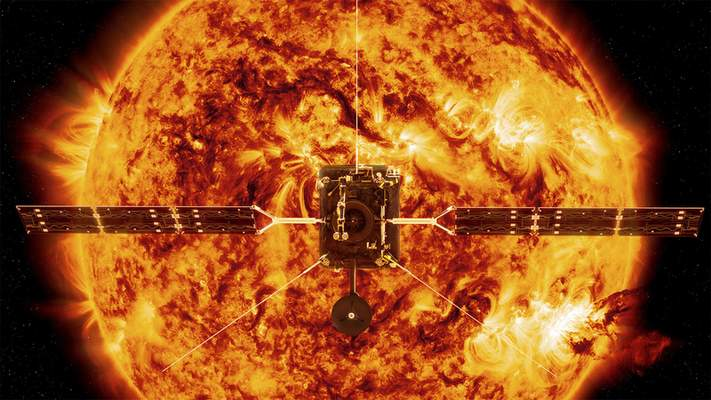 This illustration made available by NASA depicts the Solar Orbiter satellite in front of the Sun. (ESA/ATG medialab, NASA/SDO/P. Testa (CfA) via AP)
