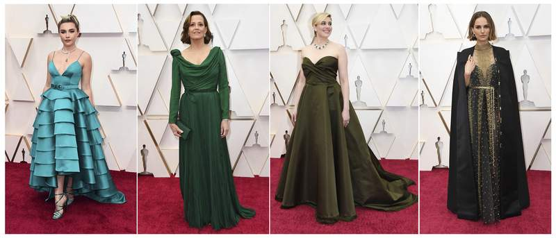 This combination photo shows, from left, Florence Pugh, Sigourney Weaver, Greta Gerwig and Natalie Portman at the Oscars on Sunday, Feb. 9, 2020, at the Dolby Theatre in Los Angeles. (AP Photo)