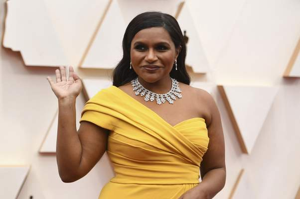 Mindy Kaling arrives at the Oscars on Sunday, Feb. 9, 2020, at the Dolby Theatre in Los Angeles. (Photo by Richard Shotwell/Invision/AP)