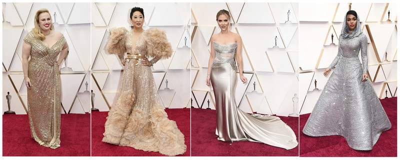 This combination photo shows, from left, Rebel Wilson, Sandra Oh, Scarlett Johansson and Janelle Monae at the Oscars on Sunday, Feb. 9, 2020, at the Dolby Theatre in Los Angeles. (AP Photo)