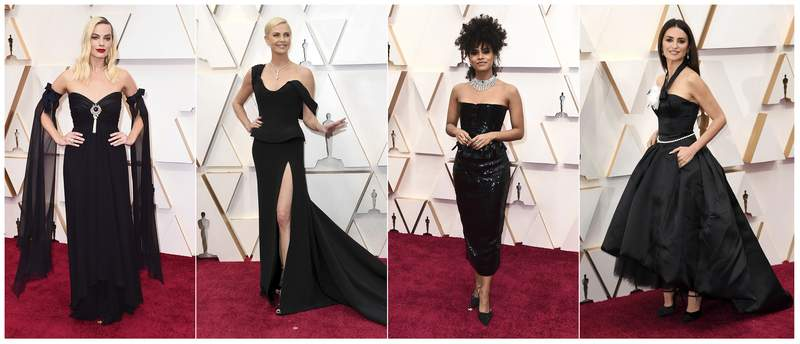 This combination photo shows, from left, Margot Robbie, Charlize Theron, Zazie Beetz and Penelope Cruz at the Oscars on Sunday, Feb. 9, 2020, at the Dolby Theatre in Los Angeles. (AP Photo)