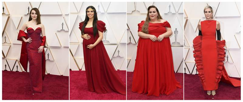 This combination photo shows, from left, Kaitlyn Dever, America Ferrera, Chrissy Metz and Kristen Wiig at the Oscars on Sunday, Feb. 9, 2020, at the Dolby Theatre in Los Angeles. (AP Photo)