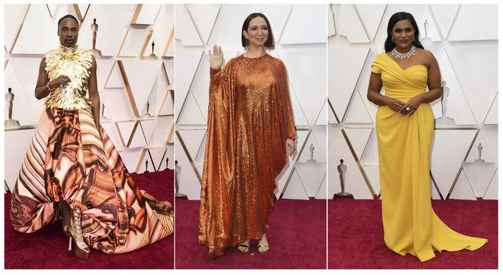 This combination photo shows, from left, Billy Porter, Maya Rudolph and Mindy Kaling at the Oscars on Sunday, Feb. 9, 2020, at the Dolby Theatre in Los Angeles. (AP Photo)