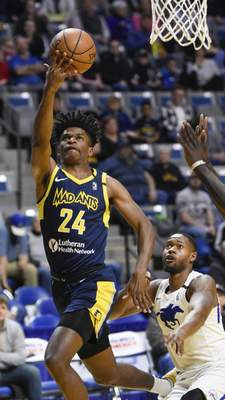 Mike Moore | The Journal Gazette Mad Ants forward Alize Johnson had 16 points and 13 rebounds in Sunday's win over Delaware. He's expected to be in uniform tonight.
