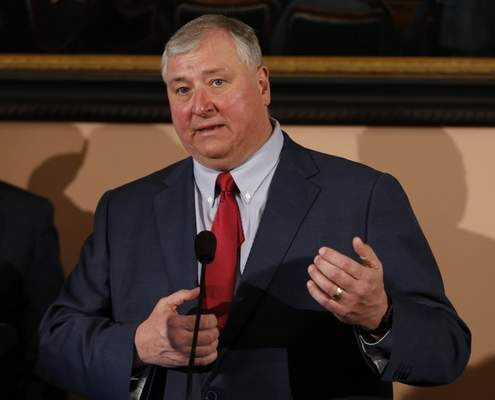 File-This March 5, 2019, file photo shows Ohio House speaker Larry Householder speaking during the Republican response to Ohio Governor Mike DeWine's Ohio State of the State address at the Ohio Statehouse in Columbus, Ohio. (AP Photo/Paul Vernon, File)