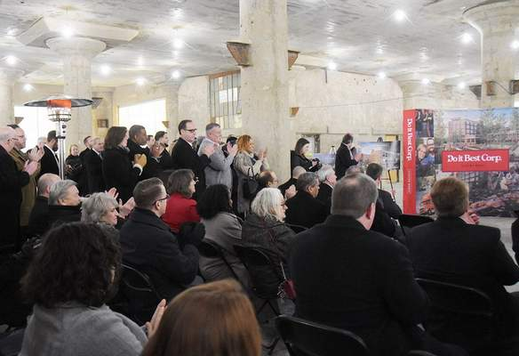 Katie Fyfe | The Journal Gazette  A large crowd gathers to hear an economic development announcement about the Electric Works project at General Electric this afternoon.