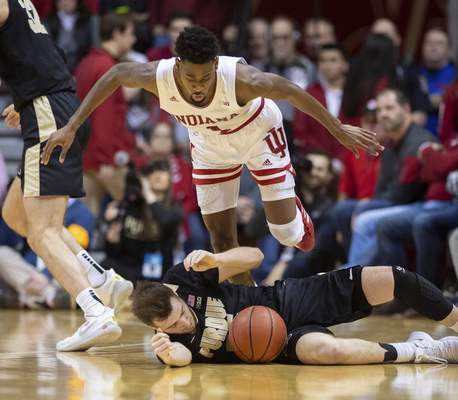 Indiana guard Al Durhamsaid Wednesday that he is trying to take more of a leadership role as Indiana attempts to end a four-game losing streak. The Hoosiers host No. 21 Iowa tonight.(AP Photo/Doug McSchooler)