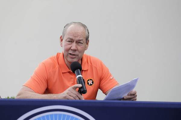 Houston Astros owner Jim Crane speaks during a news conference before the start of the first official spring training baseball practice for the team Thursday, Feb. 13, 2020, in West Palm Beach, Fla. (AP Photo/Jeff Roberson) ;