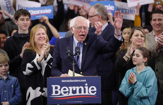 Democratic presidential candidate Sen. Bernie Sanders, I-Vt., speaks to supporters at a primary night election rally in Manchester, N.H., Tuesday, Feb. 11, 2020. (AP Photo/Pablo Martinez Monsivais)
