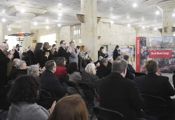 Katie Fyfe | The Journal Gazette A large crowd gathers Thursday to listen to the announcement that Do it Best Corp. plans to lease 200,000 square feet of space at Electric Works.
