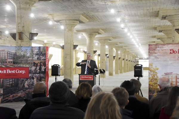 Katie Fyfe | The Journal Gazette Gov. Eric J. Holcomb speaks during Thursday's announcement that Do it Best Corp. will move its headquarters to Electric Works. The company, now based in New Haven, will lease 200,000 square feet of space.