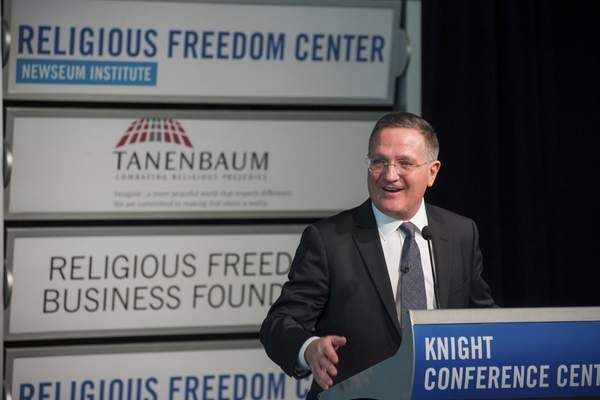 In a photo provided by the Freedom Forum Institute, Brian Grim, president of the Religious Freedom & Business Foundation, speaks at the launch event for the Corporate Pledge on Religious Freedom in Washington, D.C., in 2016.