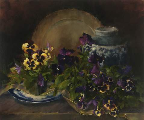 Pansies and Flow by Pam Newell is part of the Valentine's Show at Castle Gallery Fine Art.