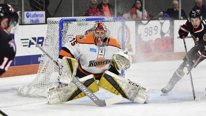 Mike Moore | The Journal Gazette Komets goalie Dylan Ferguson defends the net in the first period against Indy at Memorial Coliseum on Friday.