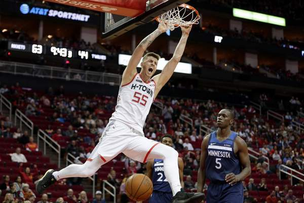 Associated Press: The Mad Ants have acquired the rights to Isaiah Hartenstein, seen here playing in the NBA for Houston earlier this season.