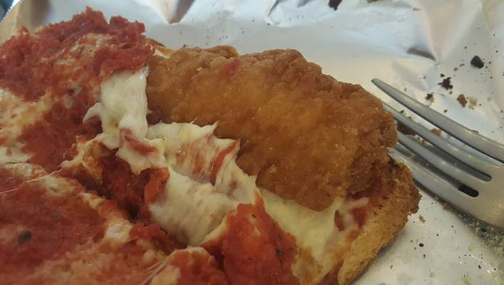 The chicken breast strips in the Chicken Parmesan sub at Z-Place in Huntington was not broasted.
