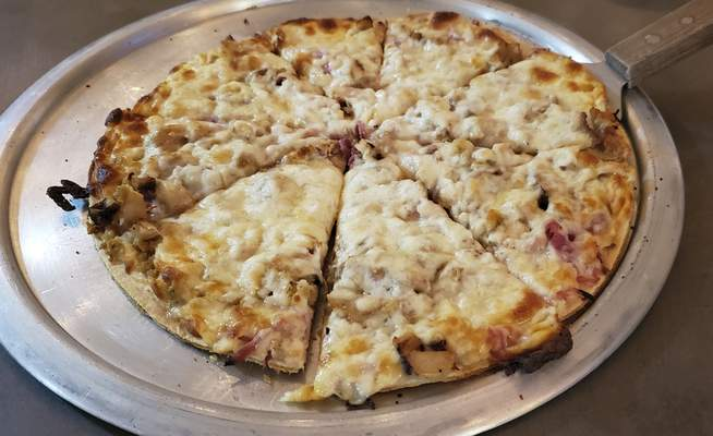 Chicken Alfredo pizza from Z-Place in Huntington.
