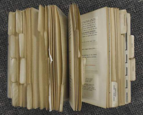 Michelle Davies | The Journal Gazette Library technician Devaun Patten's 1982 procedural book for entering books into the system at the Allen County Public Library's Technical Services building. Patten is retiring after 62 years of working for the library.
