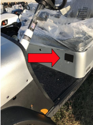 Recalled specialized vehicle with red arrow marking the serial number's location.