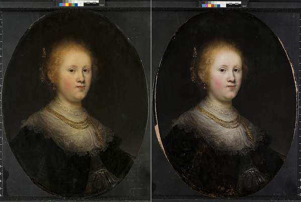 """Associated Press This photo combo provided by Allentown Art Museum shows, from left, before and after restoration of a painting called """"Portrait of a Young Woman,"""" now shown to be the work of Rembrandt."""
