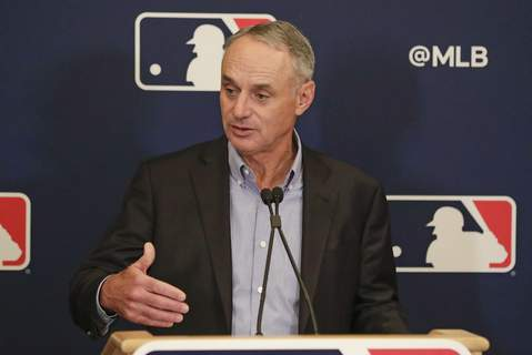 """MLB Owners Meetings Baseball Associated Press MLB Commissioner Rob Manfred apolgized for disrepsecting the World Series trophy by calling it just a """"piece of metal."""" (John RaouxSTF)"""