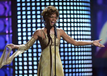 """Whitney Houston-Hologram Tour FILE - In this Sept. 15, 2004 file photo, recording artist Whitney Houston performs at the 2004 World Music Awards at the Thomas and Mack Arena in Las Vegas. Houston is about to appear on the concert stage again. Eight years after her death, five years after the show was conceived and a year after production began, a holographic Houston will embark on a European tour starting Feb. 25, with U.S. dates expected to follow. The singer's sister-in-law and former manager Pat Houston says it's the right time for a revival, and says it's a show Whitney Houston would've wanted. The concerts will feature a projected Houston performing most of her biggest hits, including """"I Will Always Love You,"""