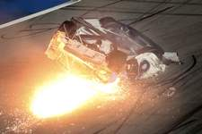 NASCAR Daytona 500 Auto Racing Associated Press: Ryan Newman slides down the track after he was involved in a crash on the final lap of the NASCAR Daytona 500 auto race at Daytona International Speedway on Monday in Daytona Beach, Fla. (David GrahamFRE)