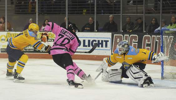 Katie Fyfe | The Journal Gazette Toledo goaltender Billy Christopoulos makes a save on a shot from Komets forward Shawn St-Amant during the second period Friday night at Memorial Coliseum.