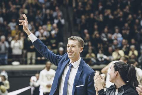 Courtesy Purdue University Former Purdue forward Robbie Hummel addresses the crowd at Mackey Arena on Saturday as he is introduced after being inducted into the Purdue Athletics Hall of Fame the night before.