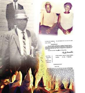 Photo illustration by Gregg Bender   The Journal Gazette The story of Israel Page, left and with his wife Margaret at upper right, turned on his filing a lawsuit against a white sheriff's deputy following a traffic accident in rural Alabama in 1954.