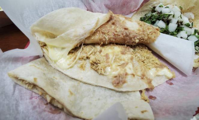 A chicken cheese and bean quesadilla at Jeny's Tacos in Kendallville.