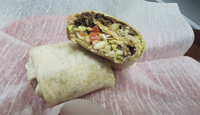 A ground beef burrito from Jeny's Tacos in Kendallville.