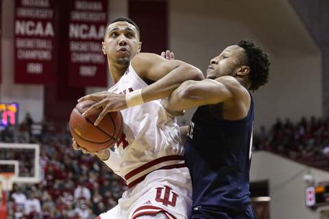 Penn St Indiana Basketball Indiana forward Trayce Jackson-Davishad 13 points and 10 rebounds, his third double-double in the last four games, to lead the Hoosiers to a 68-60 win over No. 9 Penn State.(AP Photo/Michael Conroy) (Michael Conroy STF)