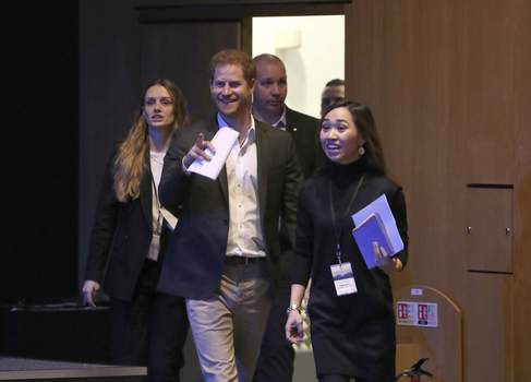 Britain Royals Britain's Prince Harry, centre, arrives for a sustainable tourism summit at the Edinburgh International Conference Centre in Edinburgh, Scotland, Wednesday, Feb. 26, 2020. (Andrew Milligan/Pool Photo via AP) (Andrew Milligan POOL)