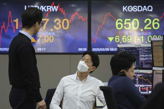 South Korea Financial Markets Currency traders work at the foreign exchange dealing room of the KEB Hana Bank headquarters in Seoul, South Korea, Wednesday, Feb. 26, 2020. Asian shares slid Wednesday following another sharp fall on Wall Street as fears spread that the growing virus outbreak will put the brakes on the global economy.(AP Photo/Ahn Young-joon) (Ahn Young-joon STF)