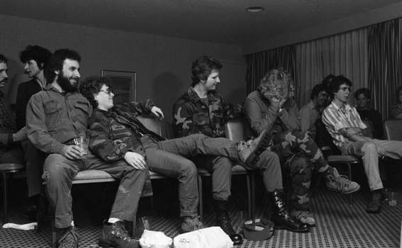 """File photos About 300 people showed up at the Sheraton Inn in Fort Wayne on Feb. 28, 1983, to watch the """"M.A.S.H."""" series finale. Extra suites had to be opened to accommodatethe crowd."""
