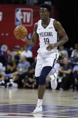 Associated Press: Kavell Bigby-Williams plays for New Orleans against Cleveland  in an NBA summer league basketball game July 10, 2019, in Las Vegas. The Mad Ants have acquired Bigby-Williams from Sioux Falls.