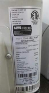Recalled Lennox ductless heat pumps nameplate.