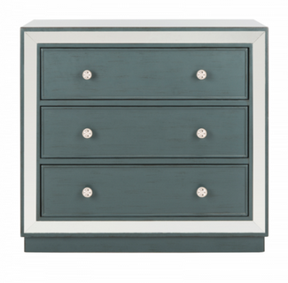 Recalled chest with steel teal drawers and mirror finish (Model number CHS6403C)