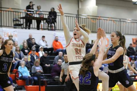 Indiana Tech's Emma Wolfe (21), a Bishop Luers graduate, led the Warriors with 19 points in their 70-61 win over Lawrence Tech in the Wolverine-Hoosier Athletic Conference Tournament championship game. (Courtesy: Indiana Tech Athletics)