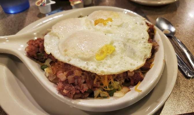 Corned beef hash skillet from Joanna's Family Restaurant on West Jefferson Boulevard.