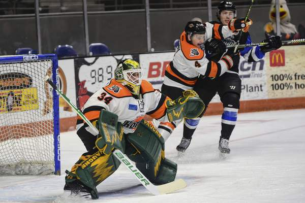Mike Moore | The Journal Gazette Komets goalie Stefanos Lekkas protects the net in the first period against Wichita at Memorial Coliseum on Wednesday.