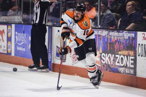 Mike Moore | The Journal Gazette Komets forward Brady Shaw takes a shot during the first period Wednesday night against Wichita at Memorial Coliseum.