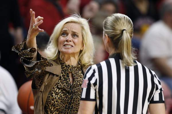 Baylor head coach Kim Mulkey reacts to a call against her team during the second half of an NCAA college basketball game against Iowa State, Sunday, March 8, 2020, in Ames, Iowa. (AP Photo/Charlie Neibergall)