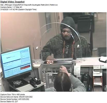 Courtesy Fort Wayne Police Department: Fort Wayne police are seeking information about this man, who they believe attempted to rob the Chase Bank branch at 204 E. Pettit Ave. this afternoon.