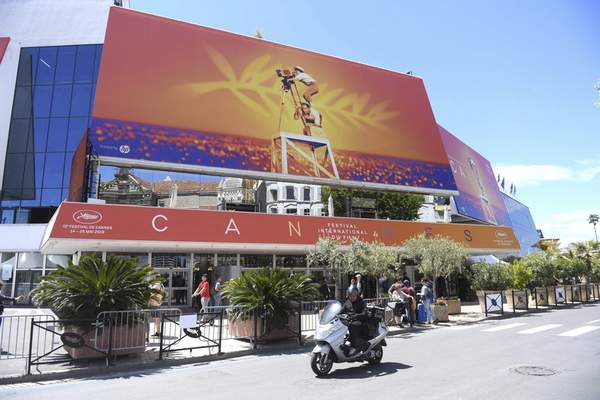 FILE - This May 13, 2019 file photo shows a view of the Palais des festivals during the 72nd international film festival, Cannes, southern France. (Photo by Arthur Mola/Invision/AP, File)