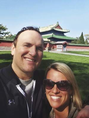 Courtesy Former Komets coach Gary Graham and wife Melissa visit the Temple of Heaven in Beijing, where Graham coached this season.