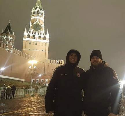 Courtesy  Two natives of Fort Wayne, Gary Graham, left, and Brian Gratz, in Moscow where they were coaching ORG Beijing this season.